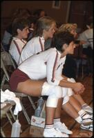 Augsburg women's volleyball team players on the bench, 1984.