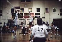 Augsburg women's volleyball team players play a match, 1985.