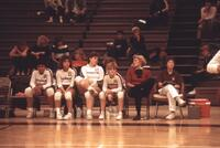 Augsburg women's volleyball team players on the bench, 1985.