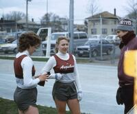 Augsburg women's track and field team runners and coach, 1984.