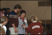 An Augsburg women's volleyball team player and parents, 1984.