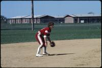 An Augsburg women's softball team player gets ready to catch the ball, 1985.