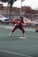 An Augsburg women's softball team player gets ready to hit the ball, 1985.