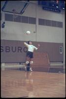 Augsburg women's volleyball player serves ball, October 1987