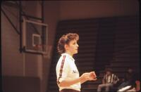 Augsburg women's volleyball player with hair up, 1987