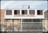 Press box at the Augsburg Athletic Field (now Edor Nelson Athletic Field), May 1987