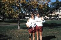 Augsburg women's soccer players taking a photo, October 1987