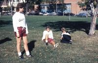 Augsburg women's soccer players relaxing in Murphy Square, October 1987