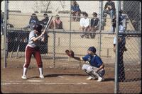 Augsburg women's softball player at bat, 1988