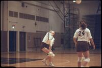 Augsburg women's volleyball player bumping incoming ball, October 1987