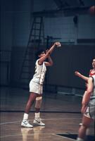 Augsburg women's basketball player makes a free throw, February 1988