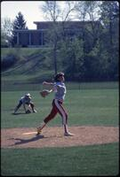 Augsburg women's softball pitcher pitch, April 1987