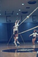 Augsburg women's volleyball player hits ball over net, October 1987