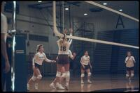 Augsburg women's volleyball player mid-air, October 1987