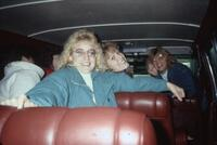 Augsburg women's soccer players in a van, November 1987