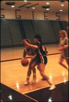 Rival player blocks Augsburg women's basketball player, 1988