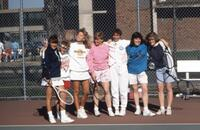Augsburg women's tennis team taking a photo, April 1988