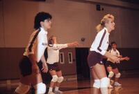 Augsburg women's volleyball players during a game, 1987