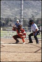 Augsburg women's softball catcher and umpire, April 1987
