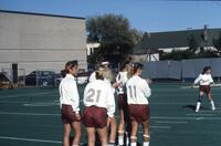 Augsburg women's soccer players in cluster, October 1987