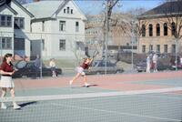 Augsburg women's tennis player after hitting ball, April 1988