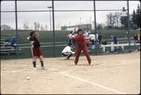 Augsburg women's softball player practices swinging, May 1988