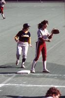 Augsburg women's softball player at base, May 1988