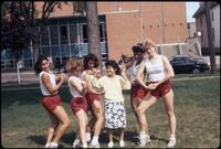 Augsburg women's track and field team runners posing in Murphy Square, May 1987