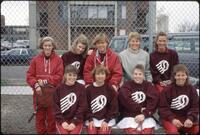 Augsburg women's tennis team players take a team photo, 1989.