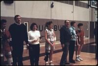 Augsburg women's basketball team seniors with their parents, 1989.