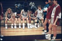 Augsburg women's basketball team players get introduced before a game, 1989.