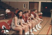 Augsburg women's basketball team players on the bench, 1989.