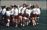 Augsburg women's soccer team players celebrate, 1989.
