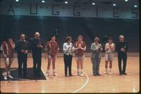 Augsburg women's basketball team players with their parents, 1989.