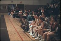 Augsburg women's basketball team bench during a game, 1989.