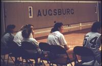 An Augsburg women's basketball team bench, 1989.