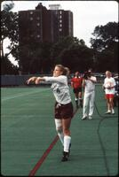 Augsburg women's soccer player throws ball, 1991