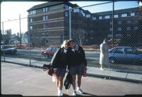 Augsburg women's tennis player with her arm around other player, April 1993