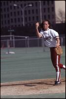 Augsburg women's softball pitcher pitches, May 1992