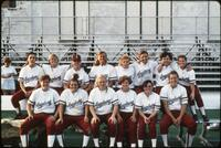 Augsburg women's softball team takes a team photo, May 1992