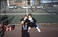 Augsburg women's tennis players take a photo together, April 1993