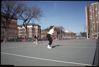 Augsburg women's tennis player holding racket, April 1993