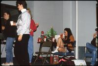 Augsburg women's basketball players during Christmas party, December 1991