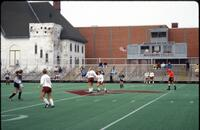 Augsburg women's soccer players during a game, 1991