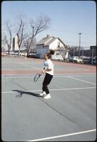 Augsburg women's tennis player holding racket, May 1992