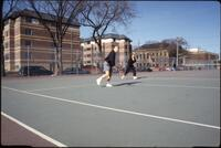 Augsburg women's tennis players on the court, April 1993