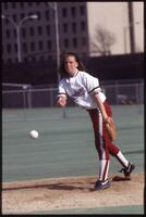 Augsburg women's softball pitcher pitches the ball, 1992