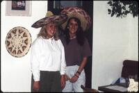 Two Augsburg women's basketball players wearing sombreros, 1991