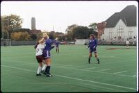 Augsburg women's soccer player and rival player block each other, 1991