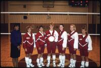 Augsburg women's volleyball team takes team photo, November 1992